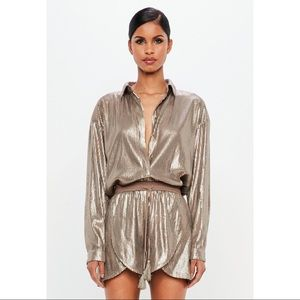[missguided] peace + love bronze sequin shirt
